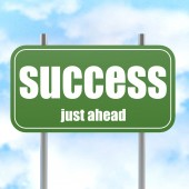 Success Green Road Sign — Stock Photo