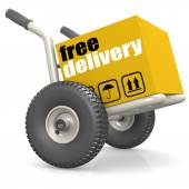 Packaging on dolly with free delivery — Stock Photo