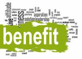 Benefit word cloud with green banner — Stock Photo