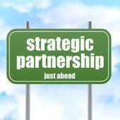 Strategic Partnership Ahead Highway Sign — Stock Photo