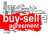 Buy-sell agreement word cloud with red banner — Stock Photo