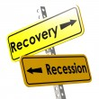 Recovery and recession with yellow road sign — Stock Photo #78923472