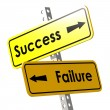 Success and failure with yellow road sign — Stock Photo #79012182