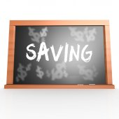 Bllack board with saving word — Stock Photo