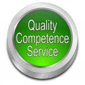 Quality Competence Service Button — 图库照片