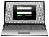 Computer portatile con schermo di login — Foto Stock