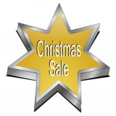 Christmas sale star button — Stock Photo