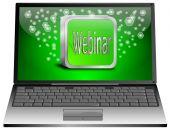 Laptop med webinar — Stockfoto