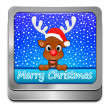 Reindeer wishing Merry Christmas Button — Stock Photo #59635479