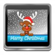 Reindeer wishing Merry Christmas Button — Stock Photo #59750009