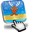 Reindeer wishing Merry Christmas Button and cursor — Stock Photo #59842617