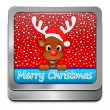 Reindeer wishing Merry Christmas Button — Stock Photo #60432511