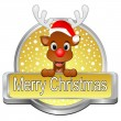 Reindeer wishing Merry Christmas Button — Stock Photo #60738247
