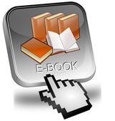 Przycisk e książki z kursorem — Zdjęcie stockowe