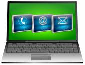 Laptop with contact us button — Stock Photo