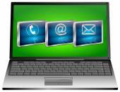 Laptop mit Kontakt Schaltfläche — Stockfoto