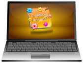 Laptop computer with spring sale button - in german — Stock Photo