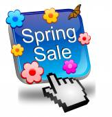 Spring sale button with cursor — Stock Photo