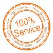 Hundred percent service rubber stamp — Stock Photo