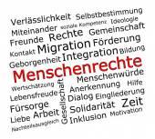 Human Rights Wordcloud - in german — Stok fotoğraf