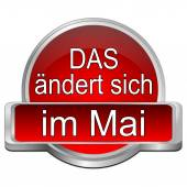 That's new in may button - in German — Stock Photo
