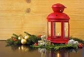 Christmas Lantern with Fir Tree — Стоковое фото