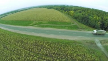 "Aerial view. Winding roads, highway in autumn. Highway M7 ""Volga"" — Stock Video"