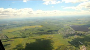 Nature, aerial view of a light aircraft. summer — Stock Video