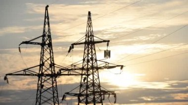 High-power plants, the setting sun, timelapse — Stock Video