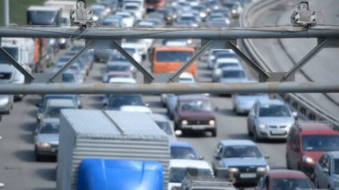 Car traffic jam on the highway in Ufa Russia — Stock Video