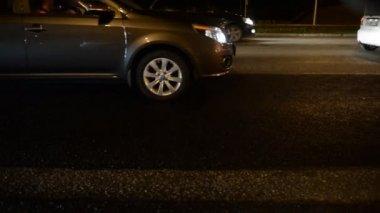 Road traffic congestion. Wort, evening, night. Ufa Russia — Stock Video