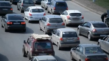 Car traffic jam on the highway — Stock Video