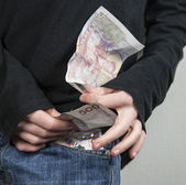 Lots of money in pocket — Foto de Stock
