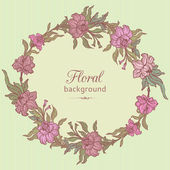 Flower garland retro floral backround — Stock Vector