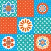Patchwork pattern with flowers — Stockvektor