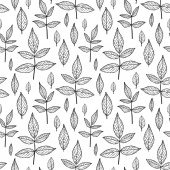 Leaves seamless pattern in black and white — Stock vektor