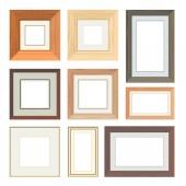 Set of vector wooden frames — Stock Vector