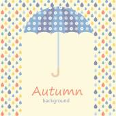 Autumn background with umbrella and raindrops — Stock Vector