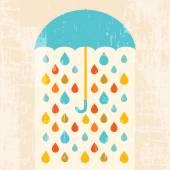 Umbrella and colorful raindrops — Stock Vector