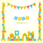 Baby background with colorful blocks castle — Stock Vector