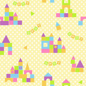Baby seamless pattern with colorful blocks castle — Stock Vector
