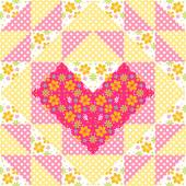 Patchwork pattern with flowers and heart — Stock Vector