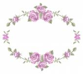 Floral frame with roses isolated on a white background — Vector de stock