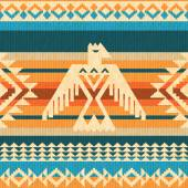 Navajo style abstract pattern with eagle and geometric motifs — Stock Vector