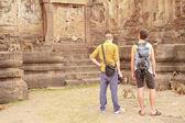 Tourist and Monkey — Stock Photo
