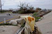 Broken by hurricane light post — Stock Photo
