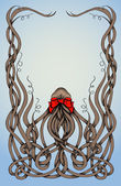 Frame made by long curly hair with big red bow. — Vector de stock