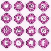 16 Diamond Social icons. — Stock Vector