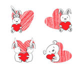 Valentines Rabbits and Bear with Red Heart — Stock Vector