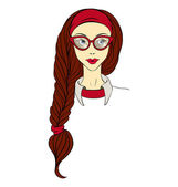 Girl in glasses and with long braid vector — Stock Vector